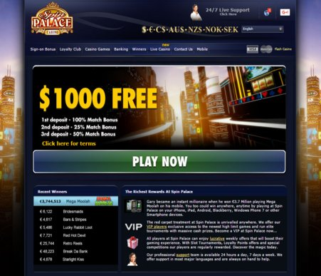 Spin palace casino withdrawal