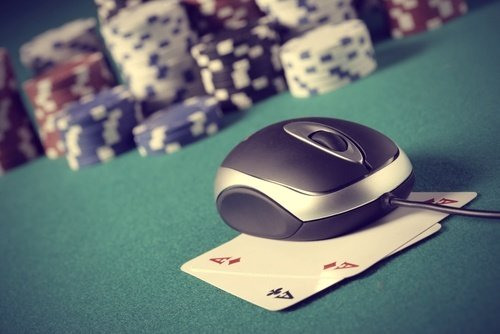 Poker chips and cards with computer mouse