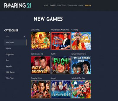 roaring 21 casino review screenshot