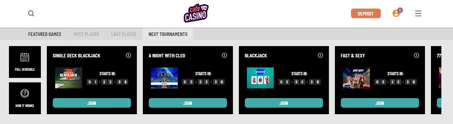 online tournaments at cafe casino
