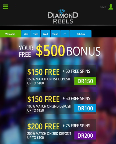 bonus promotions at diamond reels