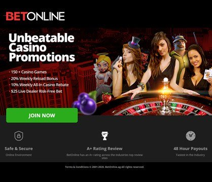 Bet Online casino homepage