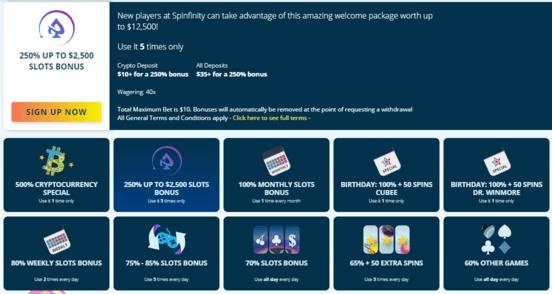 spinfinity bonus program