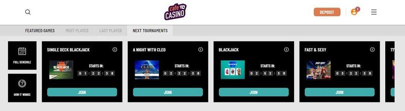 online tournaments at cafecasino