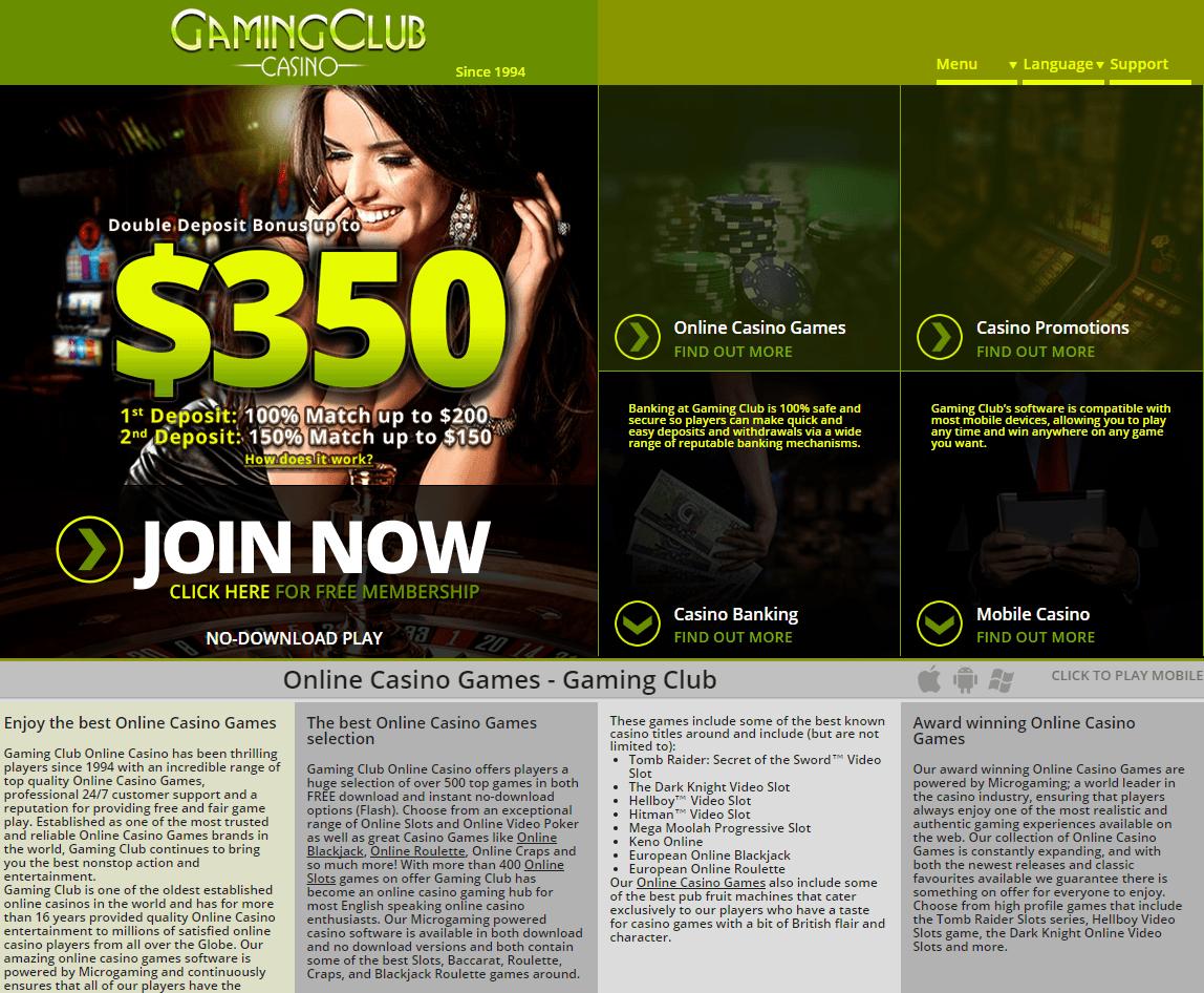 Gaming Club Casino bonus screenshot