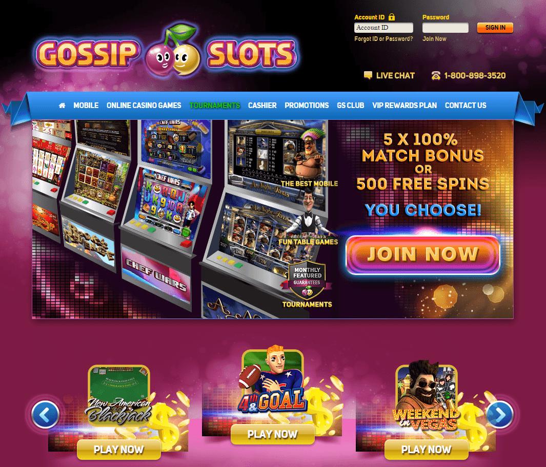 Gossip Slots Casino bonus screenshot