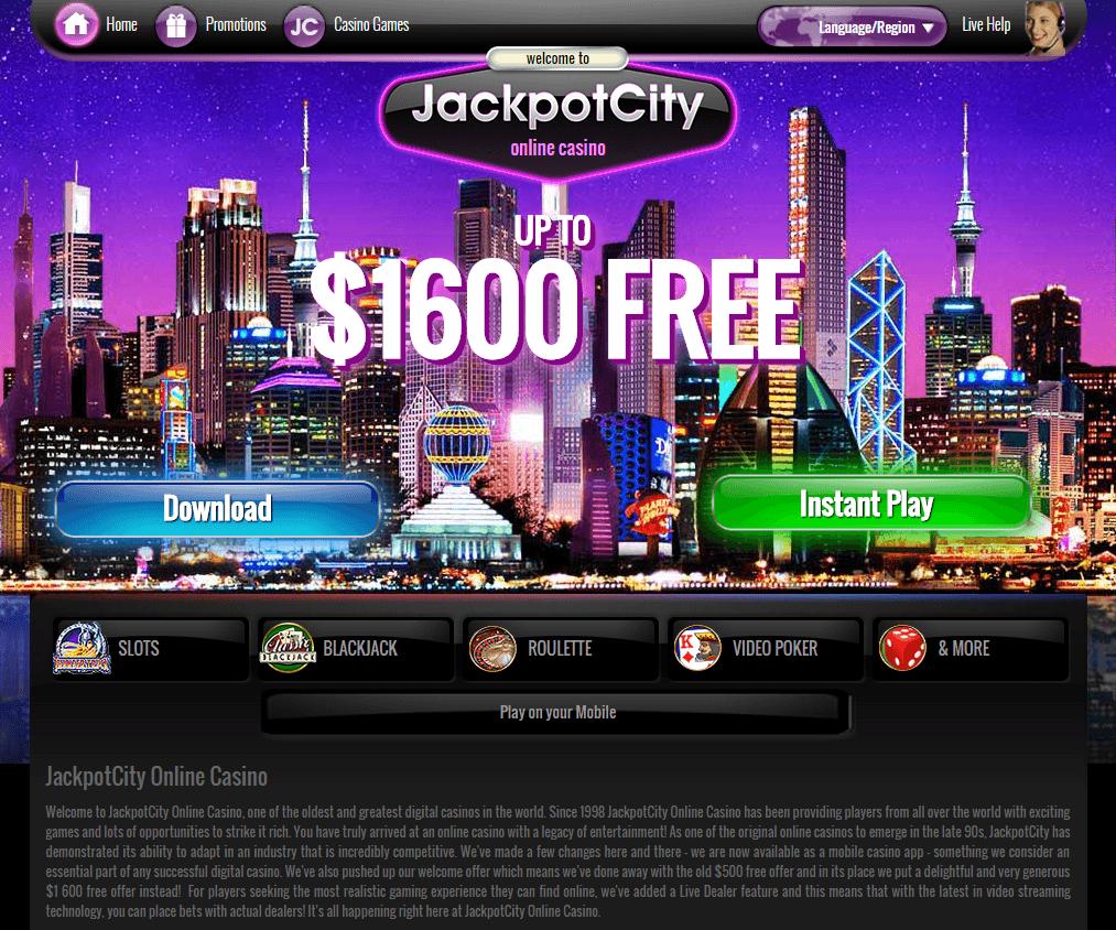 JackpotCity Casino bonus screenshot