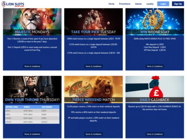 bonuses promotions lion slots casino