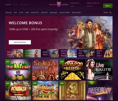 Zrzut ekranu z bonusem w kasynie Malina