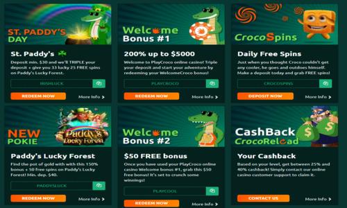 bonus promotions at playcroco