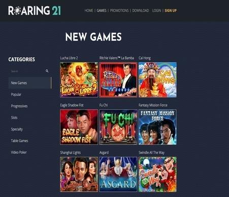 roaring 21 casino review screenshot