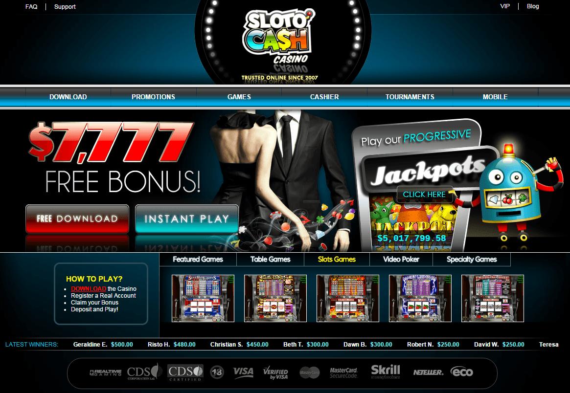 Sloto Cash Casino bonus screenshot