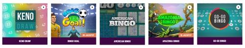 specialty games including keno draw bingo goal american bingo amazonia bingo and go go bingo