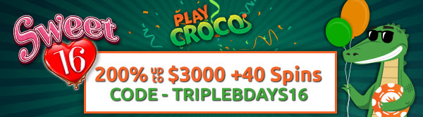 playcroco casino sweet 16 bonus