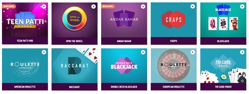 table games including teen patti spin the wheel andar bahar blackjack craps roulette baccarat tri card