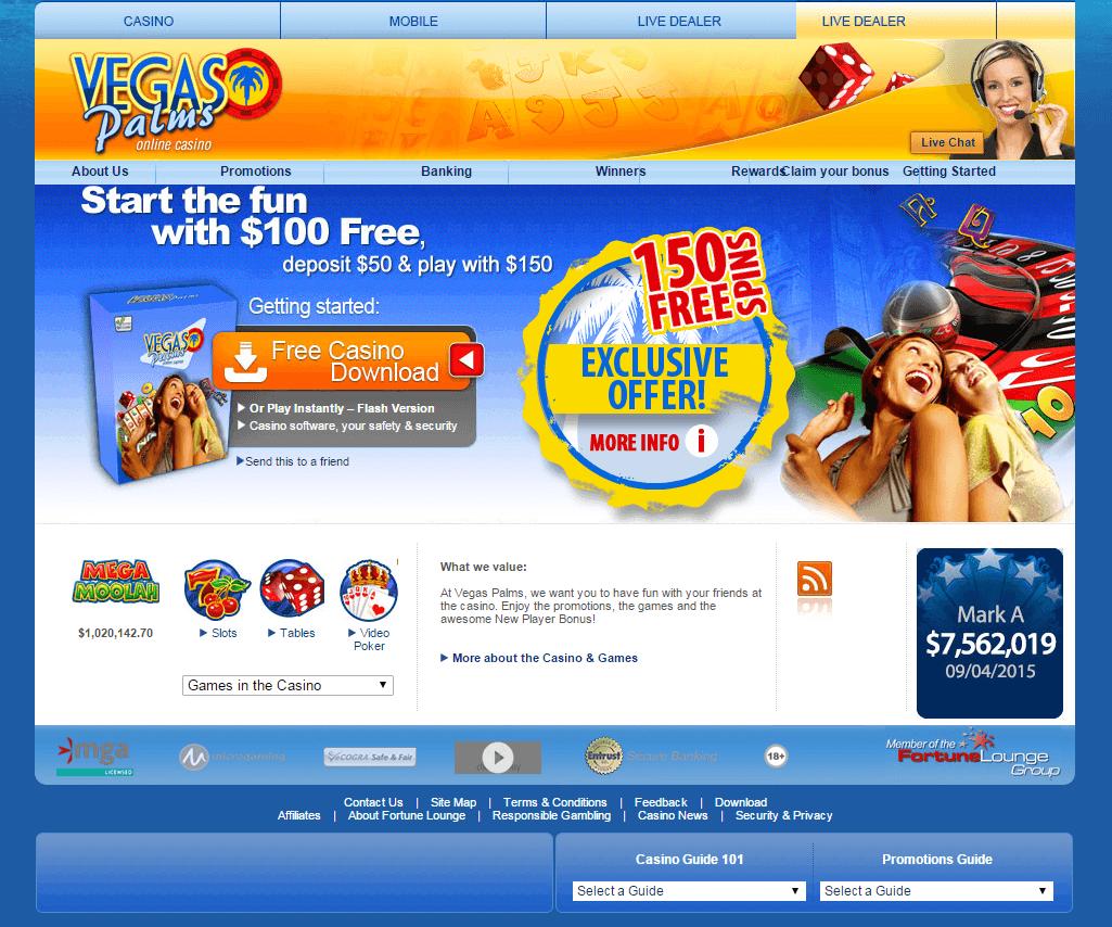 Vegas Palms Casino bonus screenshot