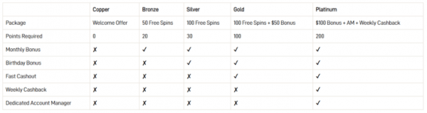 examples of available bonus promotions at Black Spins casino
