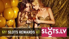 Slots.lv welcome bonus reward header with showing two ladies celebrating a gambling win