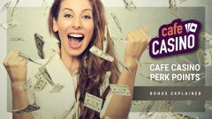 woman winning perk points from cafe casino